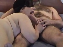Masked corpulent mature wife gives nice engulfing and licking  to her hairy hubby\'s large dick - short but sweet