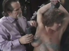 Dominant Old Stud Tortures Her Aged Wife's Large Natural Knockers
