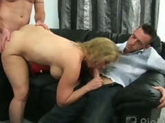 Corpulent older blonde summer blows one and bangs one