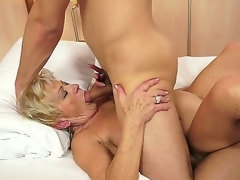 Eager granny named Malya receives a young and hawt cock in her curly love tunnel