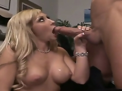 Billy Glide is one hard-dicked dude who can't live without oral sex with Golden-haired with biggest hooters and hairless snatch