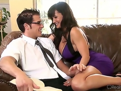 Very sexually excited Chris Johnnson encounters sexy plump breasted milf Lisa Ann and they start making out in a very vehement and quite arousing way.