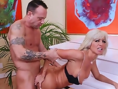 Aged smokin' hot blond cougar Tara Holiday with firm hooters and slender hot body in lingerie and high heels seduces handsome randy stud Kurt Lockwood and gets nailed by piano.
