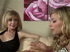 Nicole Ray and Nina Hartley are quite fond of their own sex and we can watch 'em here sluggishly hitting on each other and awaiting the situation to escalate.