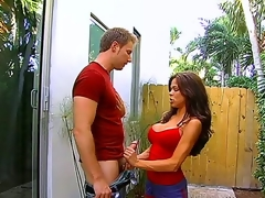 Luxurious hottie Hunter Bryce catches her neighbour peeping at her and seduces the guy to have good sex. Watch her exposing melons and giving good oral-job in a garden of her house.