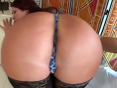 Irresistible redhead milf Tiffany Mynx has an amazing arse and this babe uses it to seduce her juvenile neighbour and suck his big rock hard schlong.