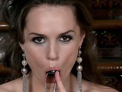 Every inch of this brunette babes body is oozing with sexiness, her eyes, hair, shapely figure, and full lips wrapped around her glass dildo says fuck me. Tori Black masturbates.