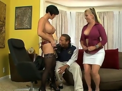 Joclyn Stone and Shay Fox are tired of lesbo sex and they have invited Chris, cuz they like to play with him. Chris is a strange stud and this chab prefers to gulp massive dildos