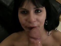 Sexually excited black haired and hot chick Naomi A sucks and licks Rocco Siffredis weenie on the bed and acquires sprayed with cum all over her face after doing the job right