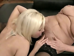 Those are the astounding nubiles and mamma scenes on which the seducing young blond Sally A is zealously working up the experienced pussy of mature fem in stockings BIbi Noel