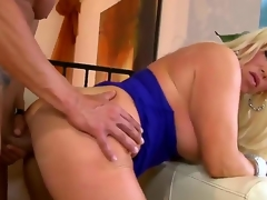 Concupiscent turned on golden-haired milf Alexis Diamond with biggest hooters and large moist wazoo in sexy costume and high heels receives her minge pounded hard by muscled stud in doggy style act