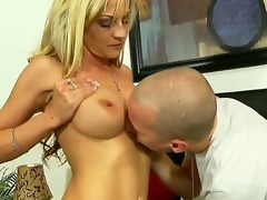 Turned on experienced seductive blond milf Sindy Lange with giant breathtaking hooters and tight arse in arousing underware receives her sweet cum-hole liked by younger concupiscent attractive stud