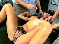 Two horny and indeed aroused studs Jordan Ash and Manuel Ferrara get their hands on a grogeous brunette hair milf in blue costume Veronica Avluv and undress her, revealing her big breasts