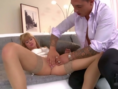 Stunning long haired Erica Fontes with natural melons and slim smoking hot body in white short dress and stockings seduces gracious guy and receives pink wet crack licked to agonorgasmos