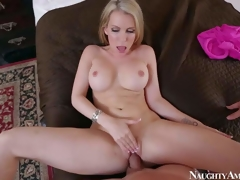 Courtney Cummz is a dangerously hawt wife with blonde hair and consummate boobs. MILF spreads her long legs wide and gets her pink hole screwed by her lucky husband from your point of view