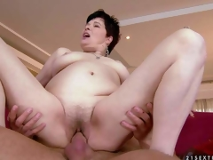 Goldee is a pale skinned short haired older brunette hair with curly wet pussy. This babe has hardcore sex with her sexy blooded young fuck buddy and acquires the enjoyment of her lifetime See older doxy acquire humped