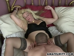 Naughty non-professional Milf homemade action with creampie