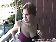 Breasty milf Canadian Cassie flashing girlfriend out of the closet