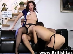 Wild 3some for older British lady in high heels