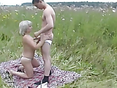 Aged Mom and her chap on nature! Russian Amateur!
