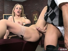 Hot breasty blond was given an oral exam and the teacher watched during the time that this babe performed it