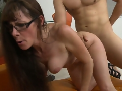 Cougar got her prey, nibbles cock, rides it and goes doggy for a facial
