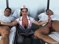 The hawt brunette hair hair nurse is there to check on the patients and to satisfy her needs