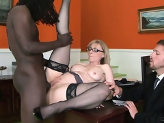 Big black male is doing smth incredible with the snatch of nice milf