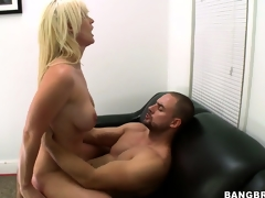 This babe rides him like a cowgirl and receives drilled hard, booty up and widen wide