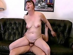 Slutty bbw Miranda is always in for some valuable fucking. Her husband came home from work late, but instead of scolding him this babe welcome him by working his schlong with her mouth. She then begins climbing on top of his lap and humped it with her dripping cooze.