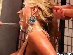 Cum fond blonde gets covered