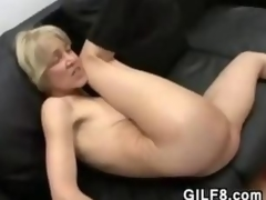 Slender Blonde Grandma Shafting And Facial