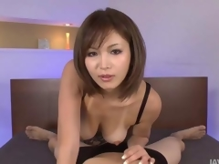 Sexy tanned Mai Kuroki in bounds carrying-on down a horny guys cock making him cum