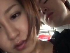 Hawt asian milf nailed hard in a bus