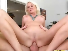 Hardcore sex with pretty big titted blonde milf