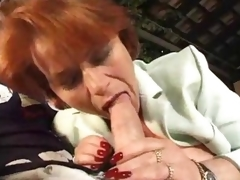 Mature obese redhead takes a double penetration